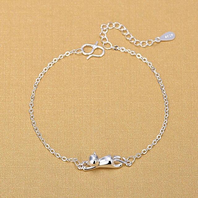925 серебряные браслеты в форме кота модные с подвесками виде