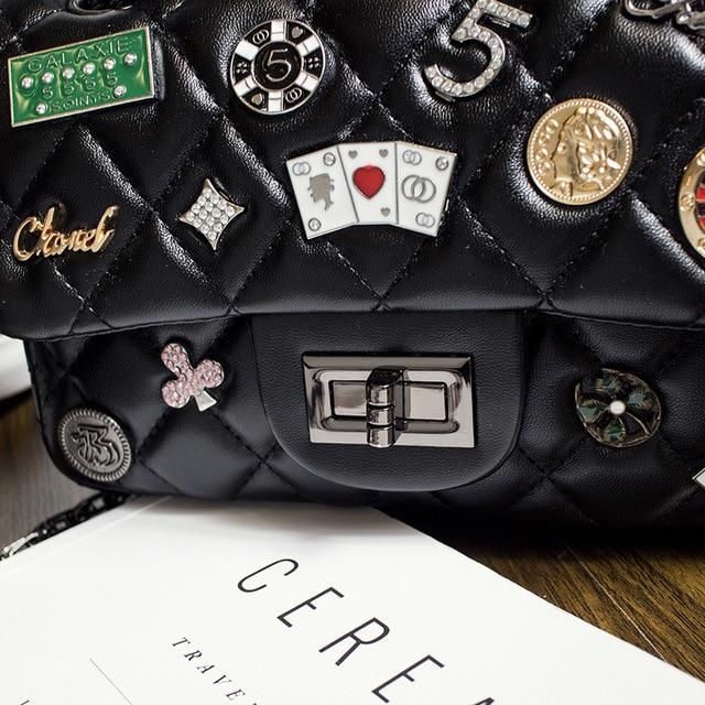 2017 Fashion Badges Rhomboid Emblem Pattern Super Fashion Rock  small bag chain lady single shoulder bag wholesale Women Handbag