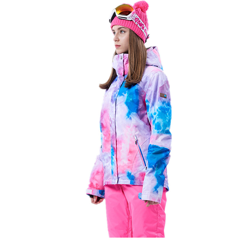 Winter New Ski Jacket Women Colorful Leaf Pattern Super Warm Snowboard Jacket Female Waterproof Thicken Outdoor Sports Jackets