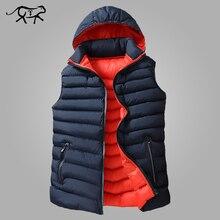 Homens inverno sem mangas jaqueta masculina para baixo colete quente grosso casacos com capuz masculino algodão acolchoado trabalho colete west homme coletes