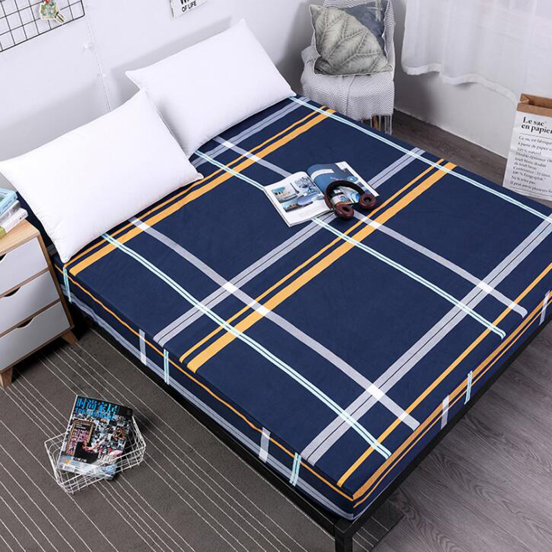 New Printing Bed Mattress Cover  Mattress Protector Pad Fitted Sheet Separated Water Bed Linens With Elastic  25cm