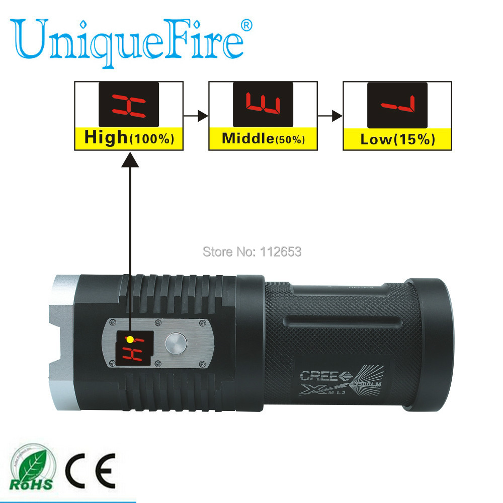 UniqueFire LED Flashlight 5 Mode 4000 LM 1401 CREE XM-L2 4LEDs Digital Display Strong Torch Light For Camping Hiking