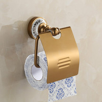 Antique Gold Space Aluminum Tissue Box Brushed Ceramic Base Roll Holder Toilet Paper Holder Bathroom Accessories Products