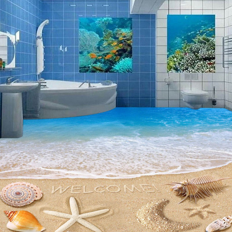 Free Shipping Aesthetic Seaside Beach Star Moon 3D Floor self-adhesive waterproof living room lobby kitchen flooring mural free shipping penguin dolphin 3d sea world flooring painting kitchen lobby restaurant floor wallpaper mural