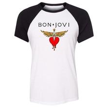 Bon Jovi Rock Band Wing Heart Sword Guns N' Roses Rock Band Design Womens Ladies Print T shirt Graphic Tee Shirt Cotton Tshirts цены онлайн