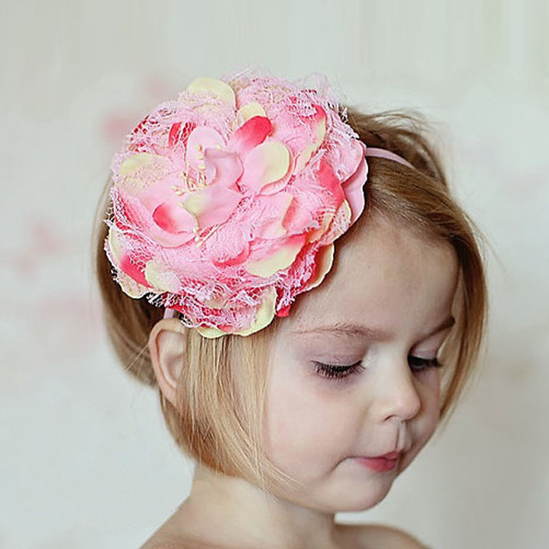 Cheap Pink Baby Girls Elastic Flower Hairband Photography Prop Band Headbands Baby Lacos Fashion Design for Toddlers