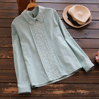 Embroidered Female Vestido Shirt Cotton And Linen Blouses 2017 Casual Tops Women S Peter Pan Collars