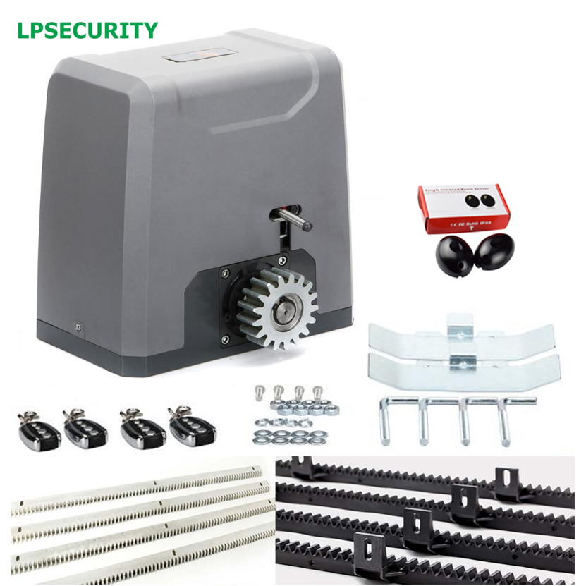 LPSECURITY 1500kg heavy duty AUTOMATIC 4 consoles SLIDING GATE OPENER Motor 4m nylon gear racks 1 pair infrared beam photocells heavy duty 1800kg automatic sliding gate motor for gate drive with infrared sensor alarm lamp and loop detector