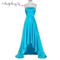 2016 New High Low Designer Simple Long Prom Dress Elegant Strapless Pleat Light Blue Evening
