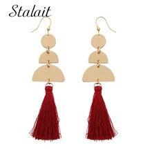 Trendy Half Round Long Tassel Earrings Womens Gold Color Metal Sequins Dangle