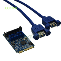 Mini PCIe to dual USB 3.0 adapter mPCIe to 19Pin USB3.0 header Card + 19P USB female header to USB3.0 Female spiltter cable