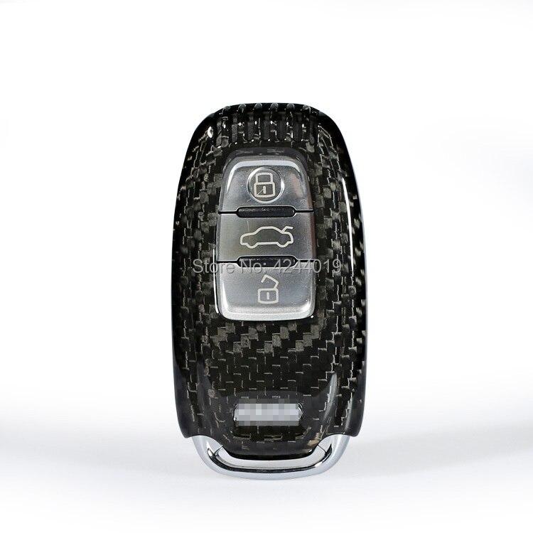 Voiture Porte-clés Porte-clés Carbone fibre etui porte-clés Clé Fob Clé Central revêtement pour audi A4L A5 A6L Q5 Q7 S6 A7 A8