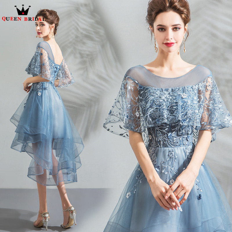 High Low Cap Sleeve Lace Tulle Blue Short Sexy Elegant   Evening     Dresses   2018 New Arrival   Evening   Gown Robe De Soiree JU27