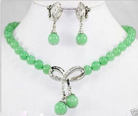 FREE SHIPPING Beautiful Jewelry Green Bow Pendant Necklace Earring Set 5 23