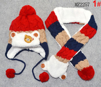Baby Hat Scarf Set Cute Bear Patchwork Warm Earmuffs Beanie Bobble Hat Child Kids Knit Cap and Scarves Winter Warm Set MZ2257