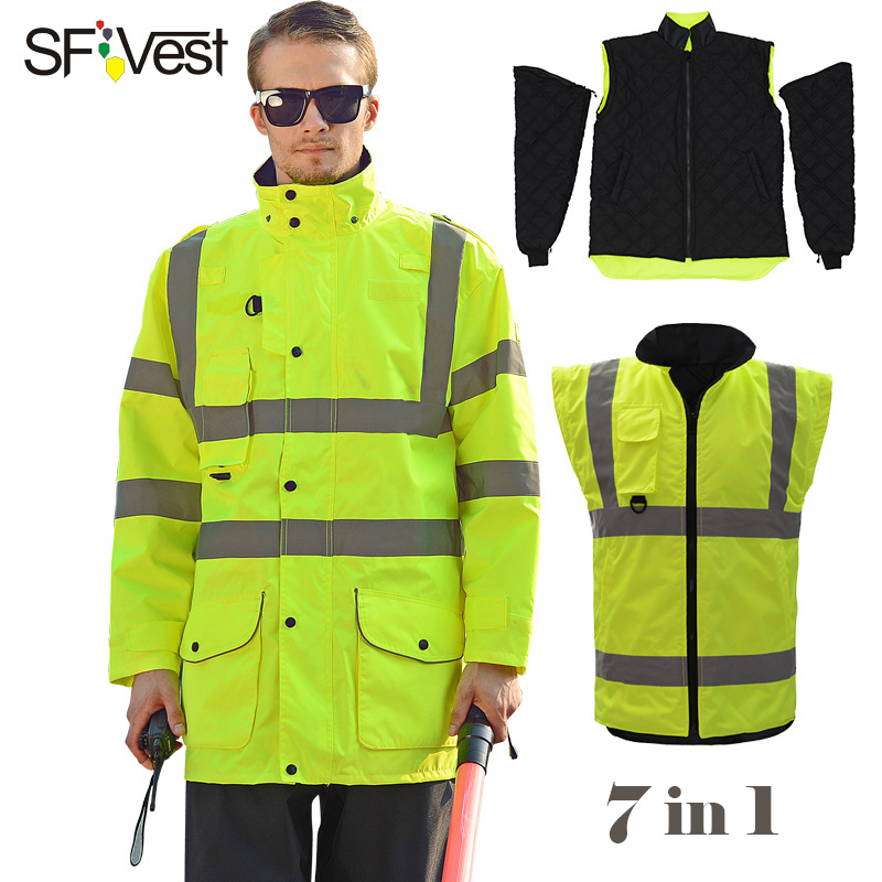 SFVest High Visibility EN20471 ANSI 107 Reflective Safety Winter Jacket men Removable Detachable 7 In 1 Parka Jacket Free Post 2017 winter jacket men size m xxl high quality thicken men parka jacket zipper fashion short men bomber jacket page 7