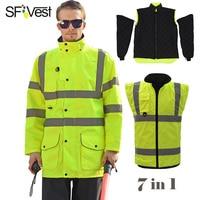 Sfvest высокая видимость en20471 ansi 107 Светоотражающие Детская безопасность зимняя куртка мужская Съемный 7 в 1 Куртка парка Бесплатная Post