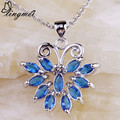 lingmei Alluring Lady Butterfly Marquise Blue Silver Pendant Chain Necklace Love Jewelry Free Shipping Wholesale