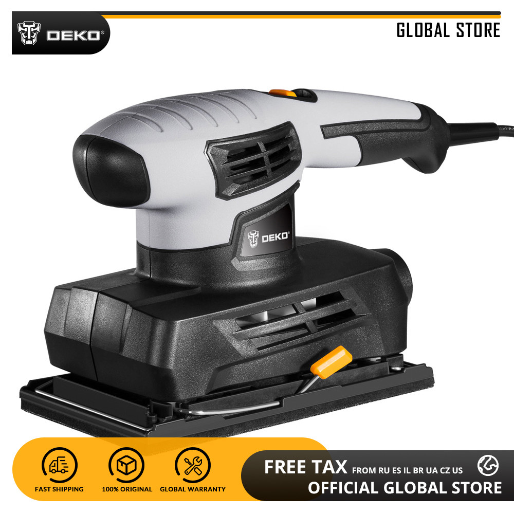 DEKO QD6520B 230V Sheet Sander With 15pcs Sandpaper And Dust Exhaust 160W Power Tool Home DIY Trimmer Electric Sander