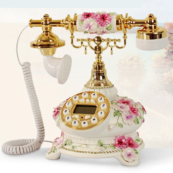 new European pastoral telephones display fixed phone support blue screen phone back to antique sitting room bedroom