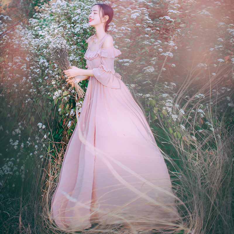 Free ship light pink/white slash collar chiffon vintage fairy long dress medieval dress Renaissance princess Victorian dress