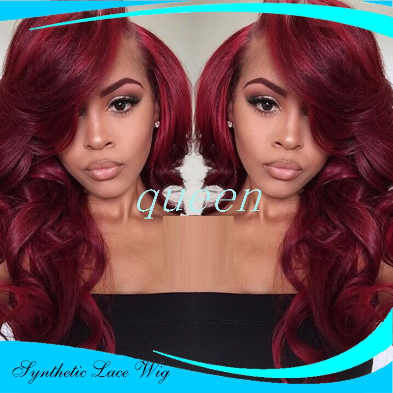 synthetic lace front Long red wig layered hairstyle root dark red ...