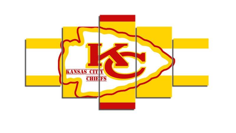 5 Pcs Kansas City Chiefs Sports Posters Home Decor Canvas Painting ...