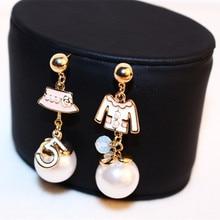 CX-SHINY Women Irregular Hat Coat Earring Real Rose Gold Anti-Allergy Letter 5 Earring Female Party Fine Pearl Earring