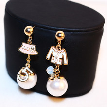 CX-Shirling Women Irregular Hat Coat Earring Real Rose Gold Anti-Allergy Letter 5 cc Earring Female  Party Fine Pearl  Earring