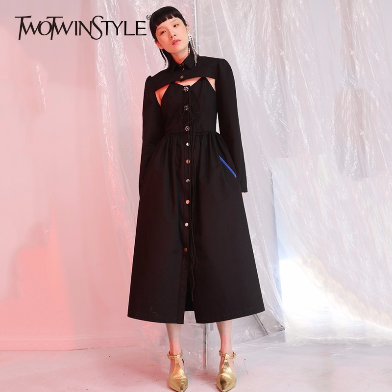 TWOTWINSTYLE Buttons Spaghetti Strap Sexy Dress Sets with Long Sleeves Crop Tops Female Lace up Midi