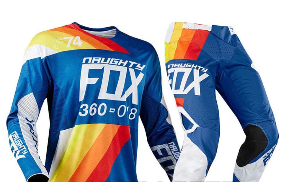 купить NEW 2018 NAUGHTY Fox MX Draftr Blue Jersey Pants Mens Combo Motocross MX 360 Racing Riding Dirt Bike Offroad Adult Gear Set недорого