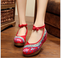 Women's 5cm Medium Heel Spring Summer Cloth Shoes Ladies Vintage Wedges Embroidered Female Pumps Soft Oxford Sole