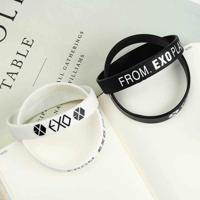 1 pc EXO Album Ulang Tahun Gelang Sport Silicone Wristband Persahabatan Bangles Aksesoris Fashion Untuk Pria Wanita Pengiriman Gratis