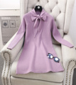 Almoda 2017 Spring New Women Pullovers Bow Collar Dress Solid Color Knitted All-match One-piece Bottom Dress