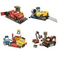 Pogo Bela Compatible Legoe 10681-10684 Course Racing Voitures Films Blocs de Construction Briques Jouets
