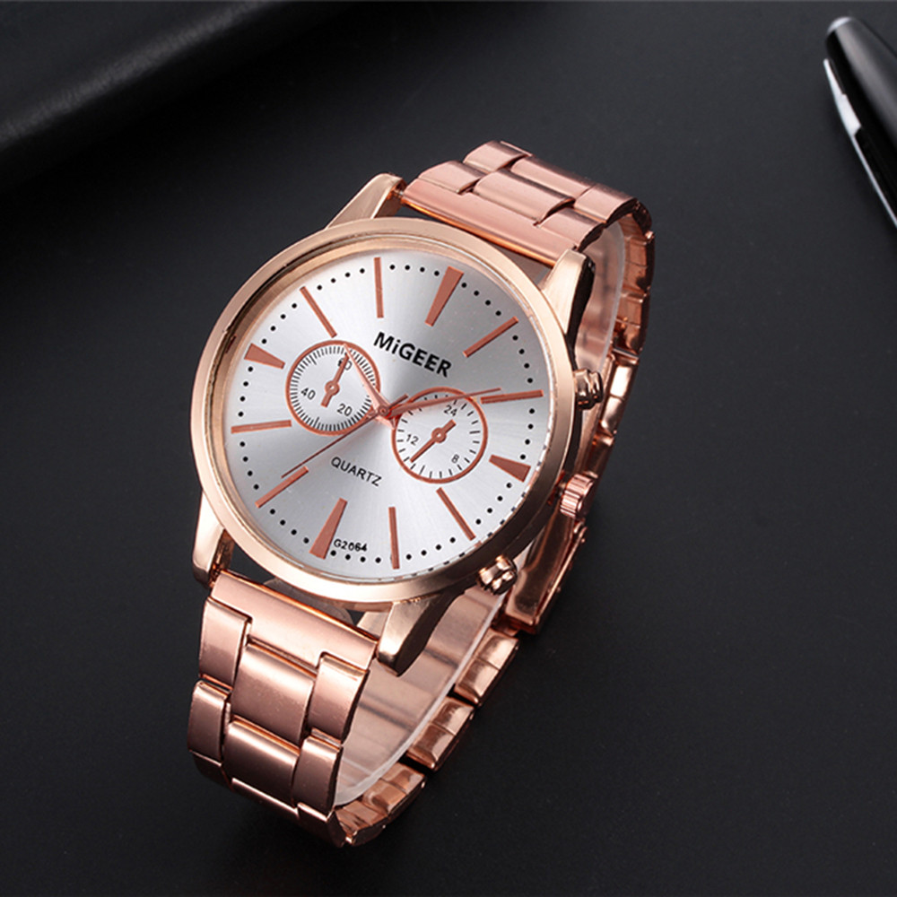 Mans Watches 2019 New Fashion Man Crystal Stainless Steel Analog Quartz Wrist Watch Hot Sale montre homme Coated Glass