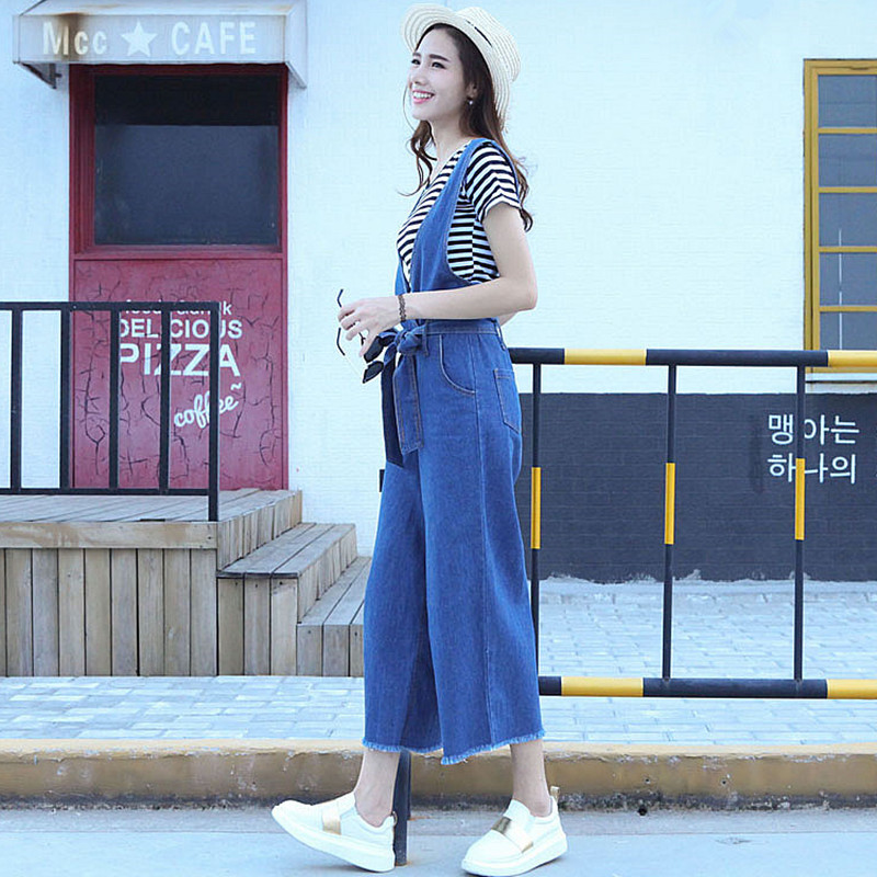 4ef16c3cb56 Bowknot belt high waist wide leg denim jumpsuit 2019 Korean fashion v neck  back zipper casual loose jeans overalls for women-in Jumpsuits from Women s  ...