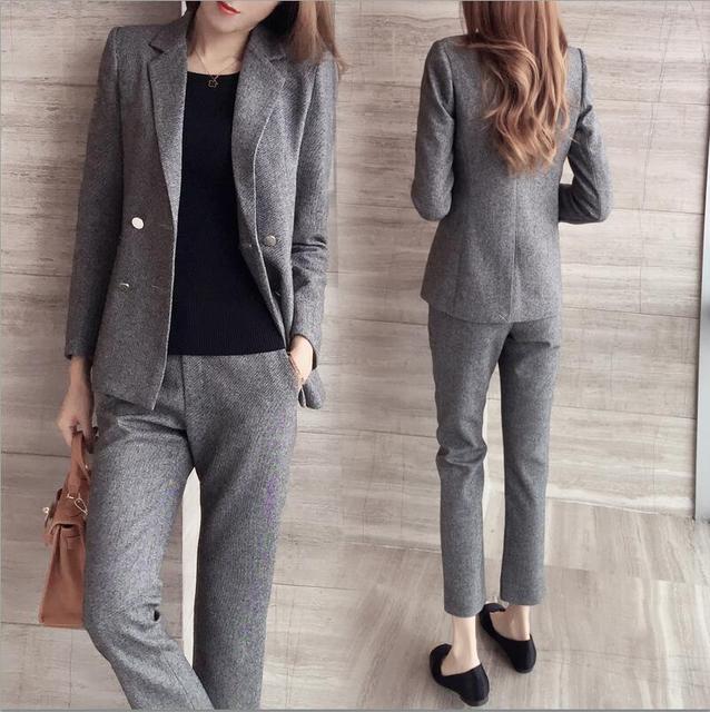 Traje de moda femenina nuevo otoño y el invierno de manga larga traje de lana era delgada temperamento ocasional two-piece-do856