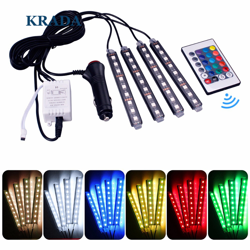 KRADA Car RGB LED 16 Colors Car Styling Strip Light Atmosphere Lamp Decorative Atmosphere Lamps Car Interior Light With Remote for toyota corolla avensis yaris rav4 auris hilux prius app control car interior atmosphere decoration lamp rgb led strip light
