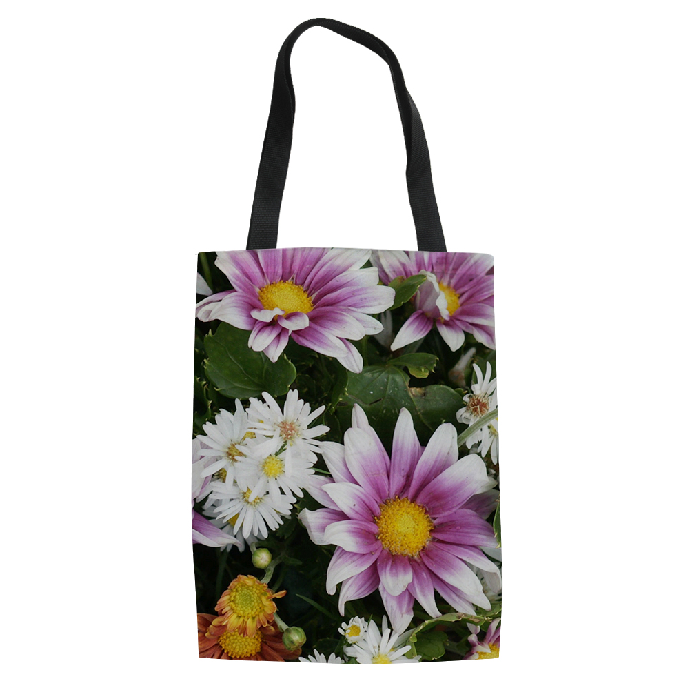 3D Flower Pattern Women's Canvas Handbags Mom Shoulder Bag Tote Bucket Shopping Bags Vintage Bolsa