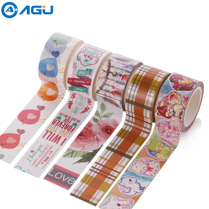 AAGU 20mm*5m Wide Box Package Single Sided Adhesive Tape Crafts and Scrapbooking Washi Tape Stationery Cute Animal Masking Tape