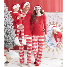 Daughter matching mother family sleepwear striped pajamas christmas sleeve clothes cotton