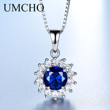UMCHO Luxury Real 100% 925 Silver Jewelry Created Nano Sapphire Necklaces & Pendants For Women Engagement Gifts With Box Chain