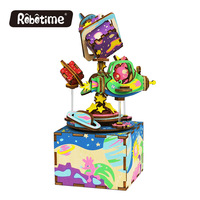 Free Shipping Robotime 3D Puzzle DIY Assembled Creative Gift Wooden Festival Memento For Kids Music Box