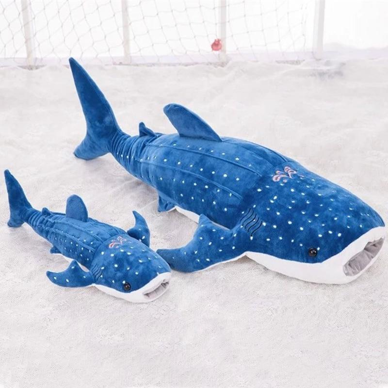 large 55cm blue whale shark plush toy cute cartoon doll soft stuffed ...