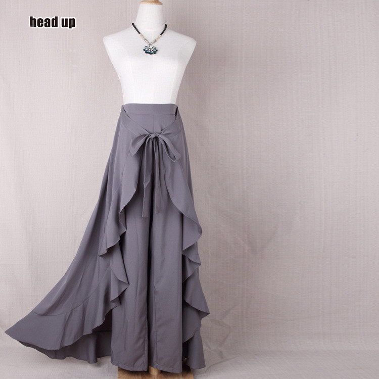 4 colours New women's casual skirt pants European and American irregularities, lotus leaf bow, high waist long skirt pants