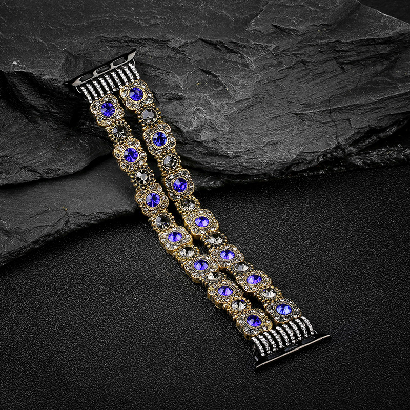 For iwatch series 4 3 2 1 Blue Diamond Agate Strap Women Jewelry watch Bracelet for Apple Watch band 38mm 42mm 40mm 44mm in Watchbands from Watches