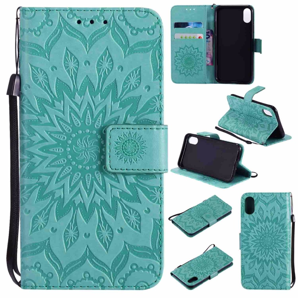 New Sunflower Emboss Phone Cases Cover for iPhone X Flip PU Leather TPU Magnetic Stand Case for Apple iPhone X Fundas