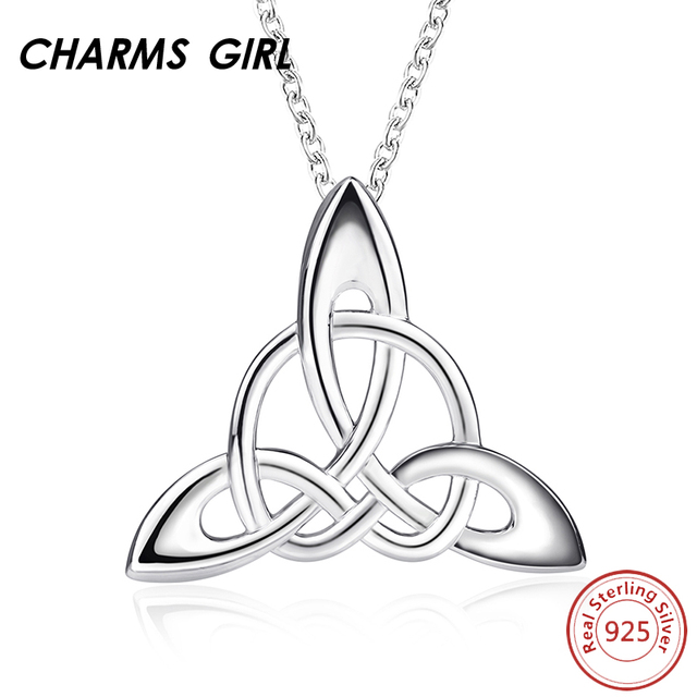 Charms Girl 925 Sterling Silver Good Luck Irish Triangle Celtic Knot
