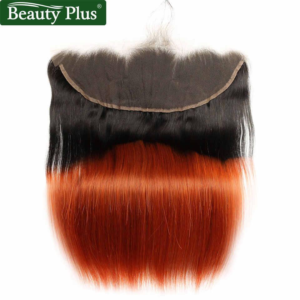 350 paquets Orange avec la beauté frontale de cheveux de bébé Plus Non Remy 13x4 fermetures de dentelle avec les paquets brésiliens brûlés Orange de cheveux humains
